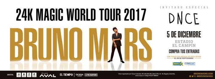 Bruno Mars llega a Colombia con su gira 24K Magic World Tour