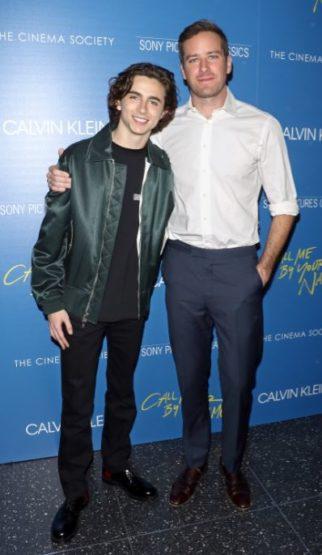 Calvin Klein vistió a los Actores Timothée Chalamet y Armie Hammer